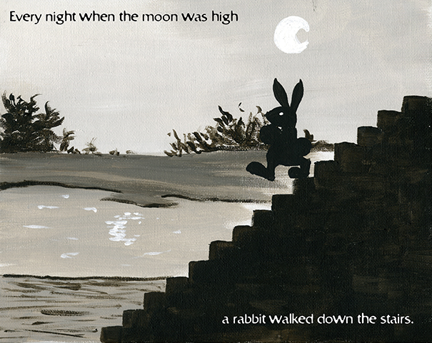 Old Stone Stairs 1 of 5 - Every night when the moon was high a rabbit walked down the stairs